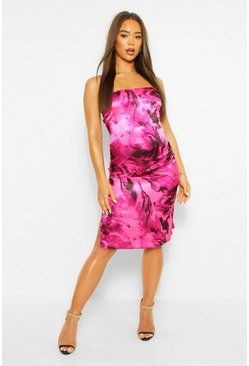Pink Marble Print Satin Cowl Neck Slip Dress
