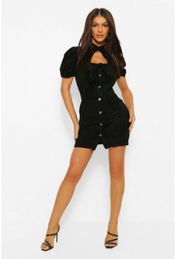 Black Suedette Tie Bust Puff Sleeve Mini Dress
