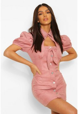 Rose Suedette Tie Bust Puff Sleeve Mini Dress