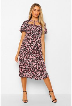 Black Floral Rouched Bust Cut Out Midi Dress