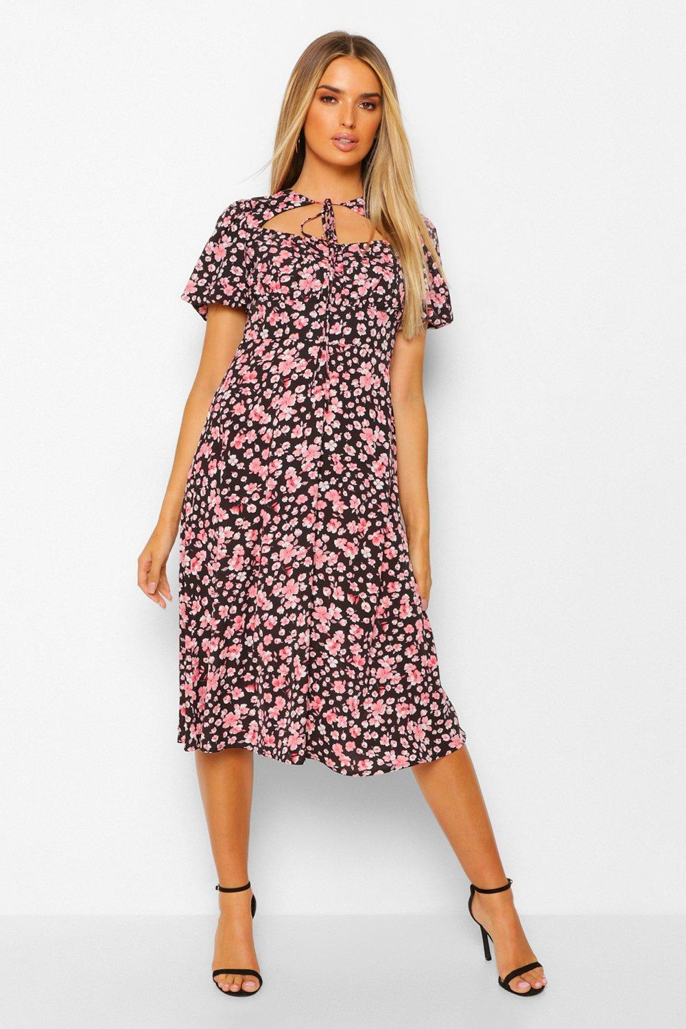 DRESSES Floral Rouched Bust Cut Out Midi Dress