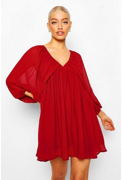 Berry Plunge Balloon Sleeve Smock Dress