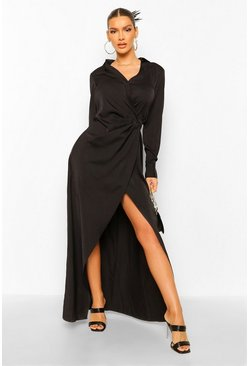Black Draped Wrap Plunge Maxi Dress