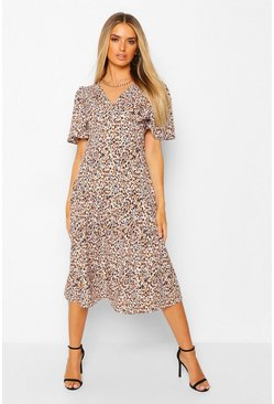 Animal Print Asymetric Frill Hem Midi Dress, White blanco