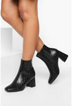 Black Block Heel Pointed Toe Shoe Boots