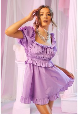 Lilac purple Woven Puff Shoulder Square Neck Skater Dress