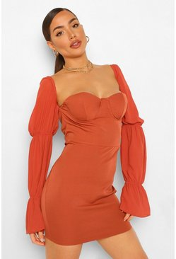 Rust orange Organza Sleeve Cup Detail Mini Dress