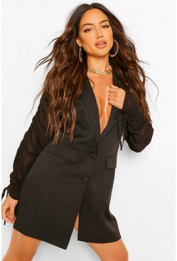 Black Chiffon Ruched Sleeve Blazer