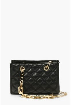 Black Quilt Chunky Chain Cross Body Bag