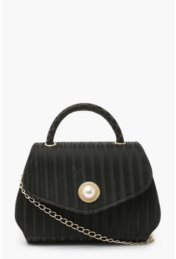 Black Pleat Effect Satin Grab Bag with Strap
