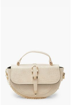 Cream white Buckle Detail Cross Body Bag With Handle