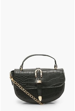 Black Buckle Detail Cross Body Bag With Handle