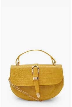 Mustard yellow Buckle Detail Cross Body Bag With Handle