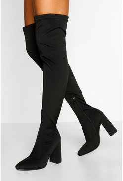 Black Stretch Thigh High Block Heel Boot