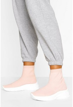 Pink Chunky Sole Sock Trainers