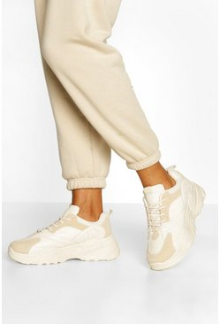 Beige Chunky Sole Lace Up Trainers