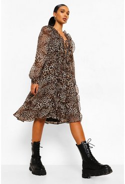 Brown Leopard Ruffle Front Lace Up Midi Dress