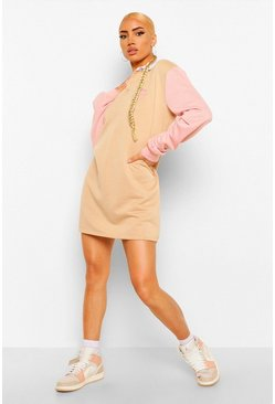 Stone Graphic Colour Block Rugby Sweater Dress