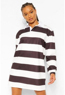 Black Stripe Rugby Sweatshirt Dress