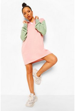 Pink Colour Block Rugby Sweatshirt Dress