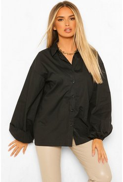 Pleated Extreme Puff Sleeve Poplin Shirt, Black nero
