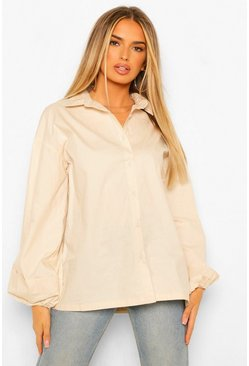 Pleated Extreme Puff Sleeve Poplin Shirt, Stone beige