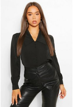 Black Extreme Collar Woven Shirt