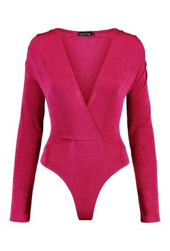 Berry Textured Wrap Front Long Sleeve Bodysuit