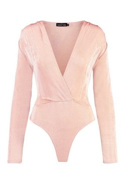 Stone Textured Wrap Front Long Sleeve Bodysuit