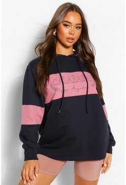 Indigo Slogan Oversized Colourblock Hoody