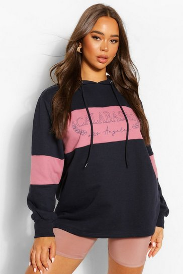 Indigo blue Blue Slogan Oversized Colourblock Hoody