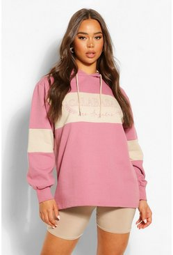 Rose pink Slogan Oversized Colourblock Hoody