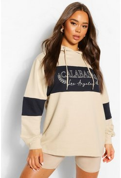 Sand Slogan Oversized Colourblock Hoody