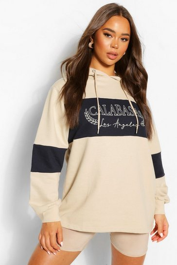 Sand beige Beige Slogan Oversized Colourblock Hoody