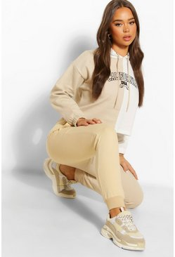 Stone beige Colourblock High Waist Joggers