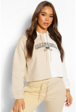 Stone beige California Colour Block Embroidered Hoodie