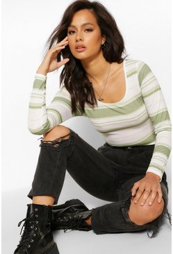 Khaki Stripe Scoop neck Long Sleeve Top