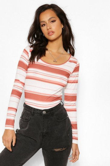Terracotta orange Orange Stripe Scoop Neck Long Sleeve Top