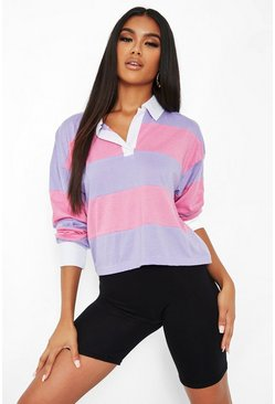 Pink Stripe Rugby Top