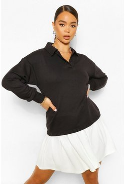 Black Oversized Rugby Top