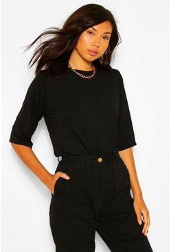 Black Boxy Shoulder Pad T-Shirt