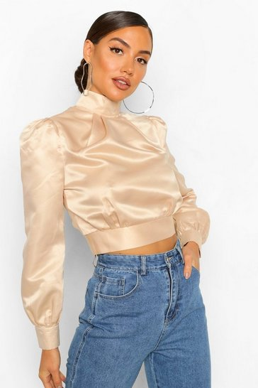 Stone Satin High Neck Open Back Top