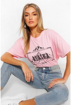 Pink Alaska Printed Washed T-Shirt