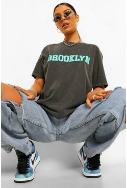 Black Brooklyn Printed Washed T-Shirt