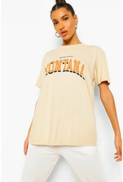 Stone beige Montana Printed Washed T-Shirt