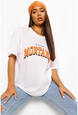 White Montana Printed Washed T-Shirt