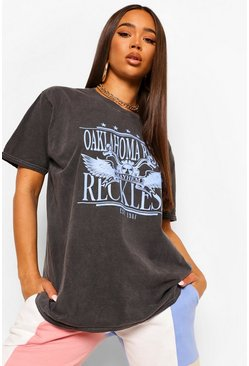 Black Oklahoma Printed Washed T-Shirt