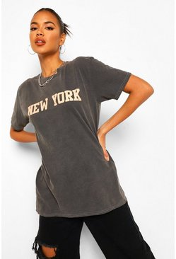 Black New York Printed Washed T-Shirt