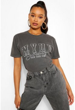 Black Nyuv Printed Washed T-Shirt