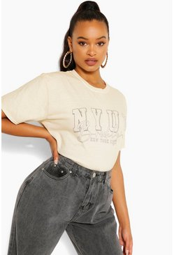 Sand beige Nyuv Printed Washed T-Shirt